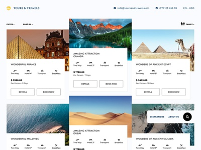 Tours and travels listing pitch concept website web ux ui typography design