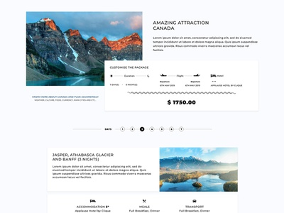 Detail page for tours and travels ui pitch concept website web ux typography design