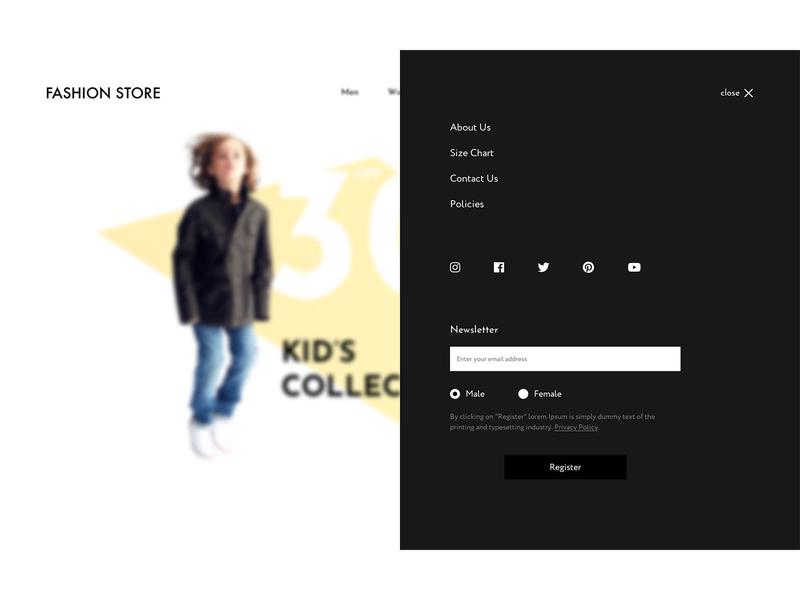 Menu options for online fashion store website