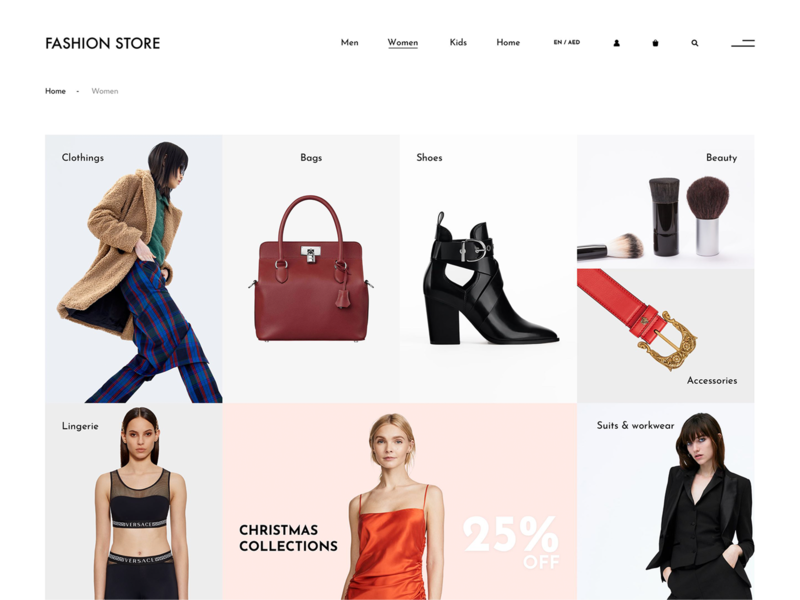 Category landing page concept for online fashion store