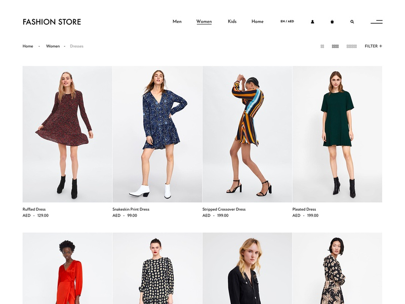 Product listing page concept for online fashion store