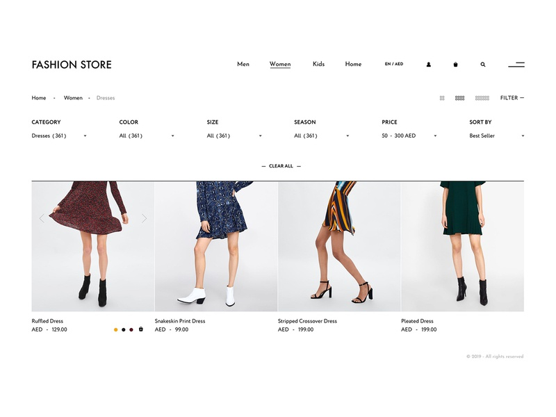 Simple filter concept for online fashion store