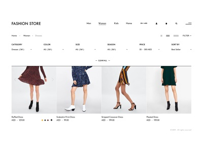Simple filter concept for online fashion store fashion e-commerce design pitch website concept web ux ui typography design