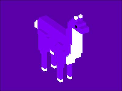 Llama voxel llama purple shading pixel 3d