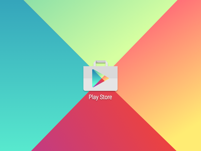 Google Play Store launcher icon bag paper freebie lollipop material gradient play store google android