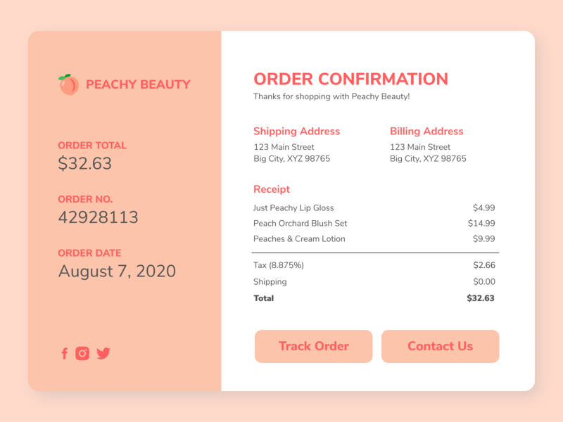 Daily UI (Day 17) - Email Receipt dailyui 017 dailyui
