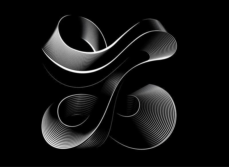 Black and white letter Z illustration elegant visual graphics flow ribbon z z letter letter type 36 days of type letter art lettering typography digital illustration digital art graphics