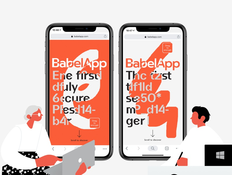 Babelapp - Encrypted communication tool branding design ui typography graphic design minimalistic character illustration uidesign decryption canvas interactive webdesign web website encrtption