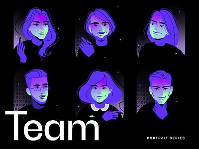 ByAllMeans - team portrait illustrations dark dreamy mystical purple gradient graphics agency faces humans teams teamwork team design digital illustration portrait drawing digital art illustration