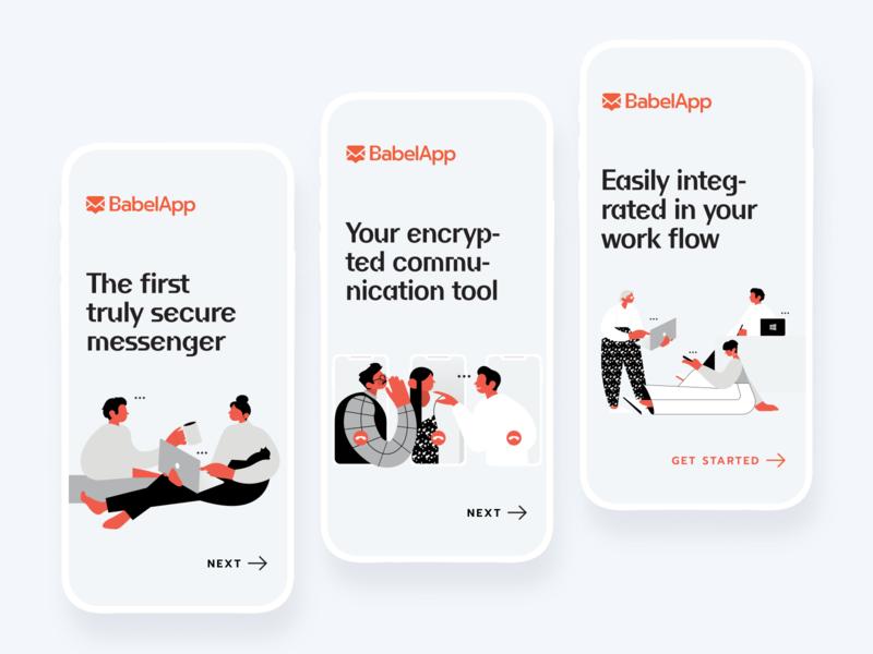 Illustration set for encrypted messenger messenger encrypted character design walk through product design vector ui logo typography digital illustration graphic design graphics drawing illustration