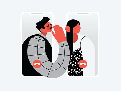 Secure Communication illustration digital art graphic design illustration webdesign web ui ui illustration connection illustration phone commuication calling red people people phones vector illustration communication illustration digital illustration web illustration