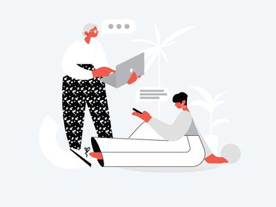 Chill office communication illustration vector illustration illustration corporate messenger messenger app crypto illustration coworkers illustration office illustration web illustration ui illustration