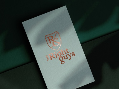 The Right Guys business card brand green visual graphics shadows emblem hot foil business card branding graphic design