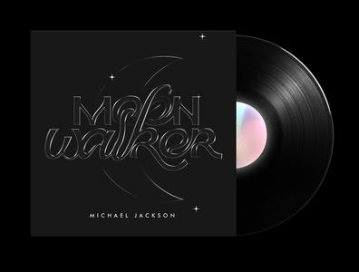 Moonwalker - Typographic Vinyl Cover Art letters visual graphics typo letter art moon vinyl cover michael jackson black lettering lettering typography graphic design cg digital art graphics