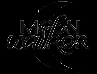 Moonwalker - Glass typography visual graphics black letters typographic composition waker moon black typography glass effect digital art graphic design ag cgart letter art lettering typography
