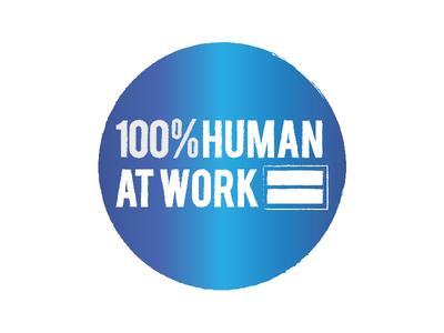 Virgin – 100% Human At Work  blue identity wordmark equality human mark logotype logo