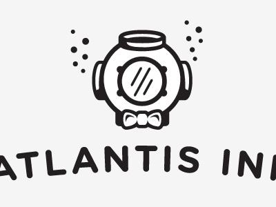 Atlantis rough v2 bubbles diver logo logotype atlantis bowtie