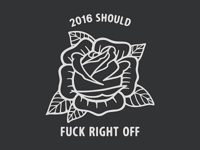 Fuck off, 2016. sans serif flower illustration vector 2016 traditional rose