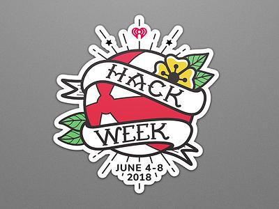 Hack Week Sticker beach ball merch banner flower tattoo flash sticker hackathon hack logo