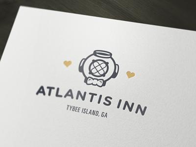 Atlantis Inn update logo logotype symbol diver scuba atlantis gold inn hotel branding identity typography classic hearts nautical