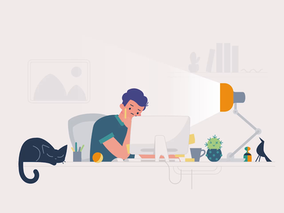 Animating from home svgator work from home motion graphics motion design office home office animated illustration 2d animation cat character animation character animation svg svg animation vector illustration