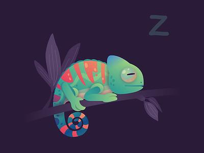 Dreaming Chameleon SVG looping loop animation animated illustration chameleon animal svgator app sleeping colorful svg animation svgator 2d animation animated animation vector illustration