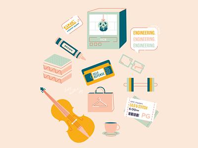 👩👧happy mama's day crayon weights glasses snow white violin movie tickets tiramisu vhs iconography icons design vector illustrator illustration