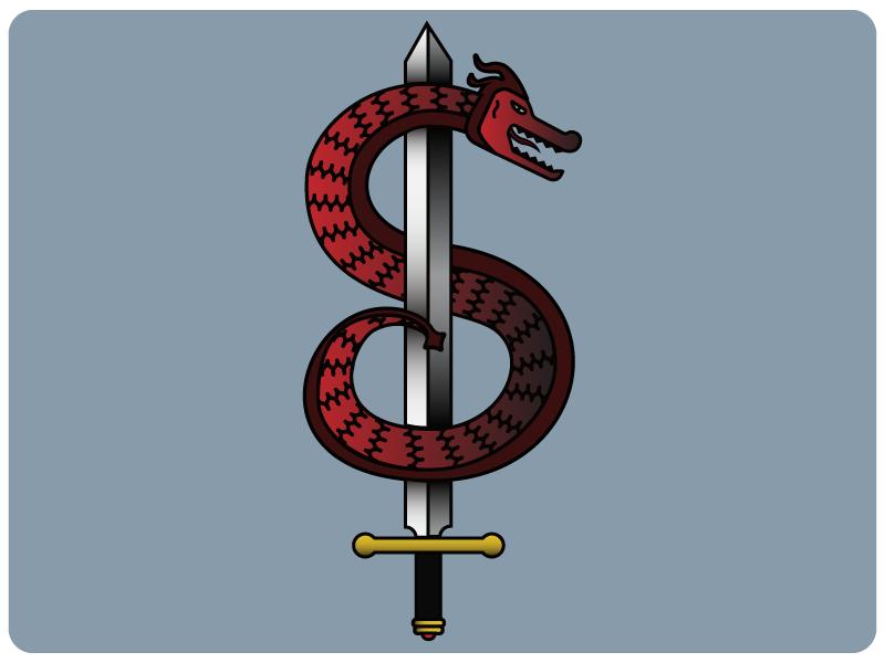 Dragons & Gradients serpent snake gradient illustration dragon sword
