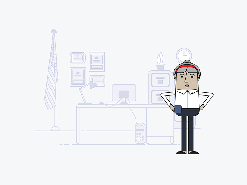 #1 mid-level employee work worker desk woman illustrator character office vector illustration