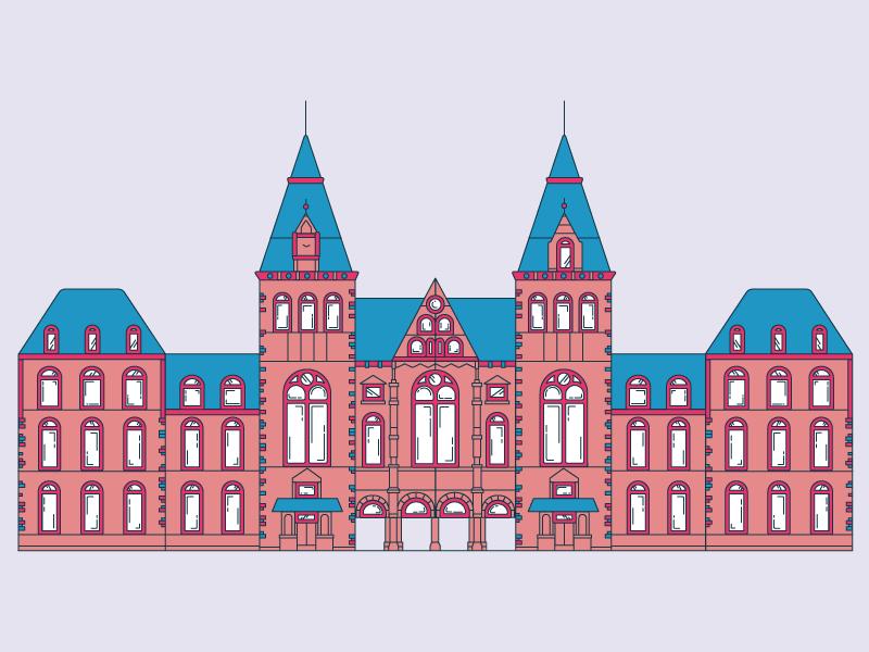 rijksmuseum museum amsterdam historic building illustrator illustration rijks architecture