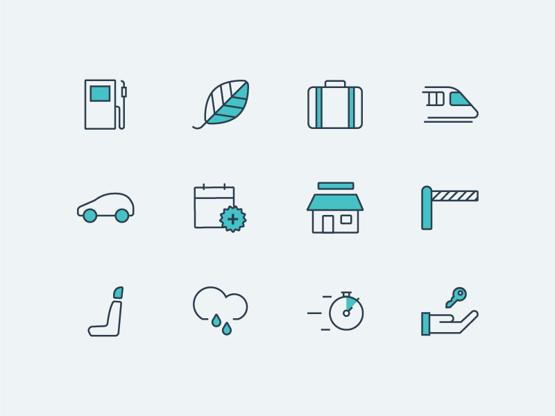 travel & vehicle iconography vector icons illustrator train travel vehicle rental store calendar gas car