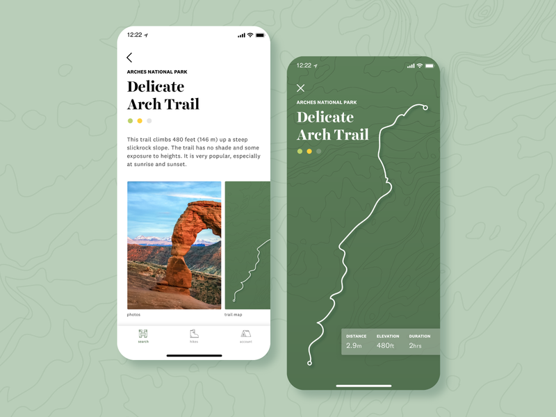 🏞🥾 experience design interface app mobile app mobile ui trail hiking national park