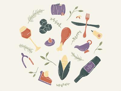 thxgiving 🍗 texture icons illustration brushes photoshop design illustrator pumpkin pie gravy brussels sprouts cranberry sauce wishbone egg turkey corn holiday thanksgiving food wine pie