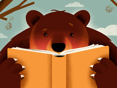 A bear with a book illustration bear texture character style frame human animation storyboard book reading workers resting construction building
