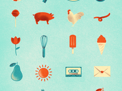 Some Icons icon ice cream lollipop candy illustration storyboard print design layout logo sign pear pig country craft sun vintage retro letter mail roster clover