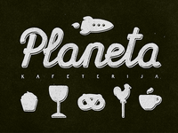 Planet cafe logo and identity. WIP