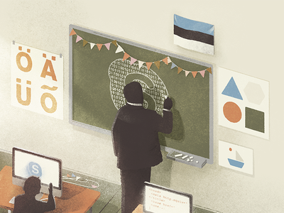 Editorial illustration for Usbek & Rica illustration editorial poster magazine children class school lesson skype texture