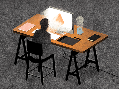 Night Shifts editorial illustration freelance imac night work texture man chair desk