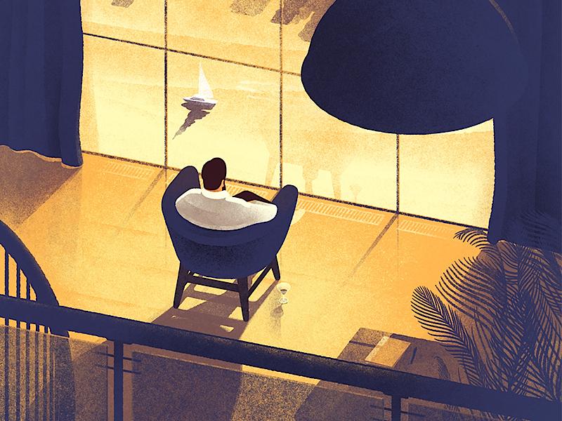 DuJour magazine cover illustration drawing editorial texture cover magazine loft man portrait home leaves boat