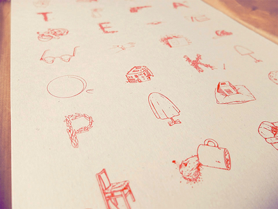Riso print print poster doodles drawing red a3