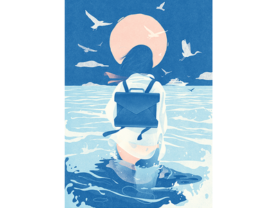 A summer story #1 girl beach water sea print poster illustration