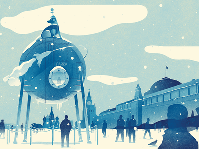 What if Laika...? editorial sculpture winter redsquare moscow laika illustration