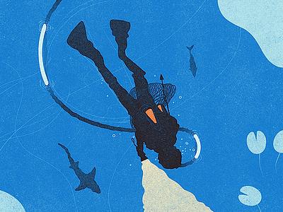 The Diver sharks vintage texture water diver froont illustration
