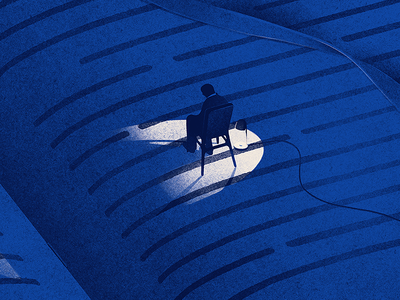 The Reader night light chair man drawing cover medium texture book illustration