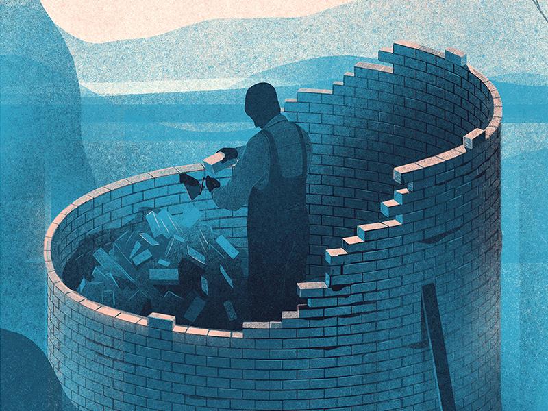 Science Of Scarcity economics bricks building japan forbes editorial illustration