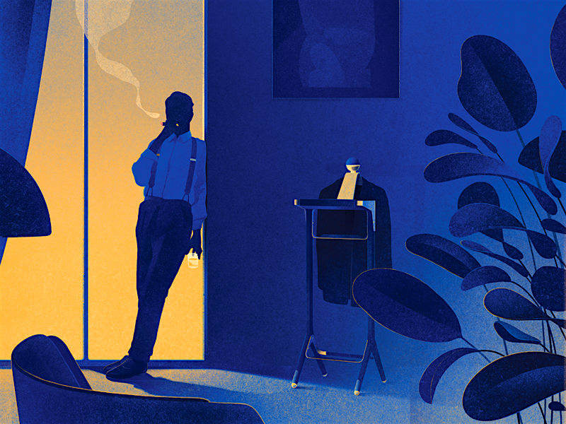 Honorific design light texture flora interior loft gentleman drawing illustration