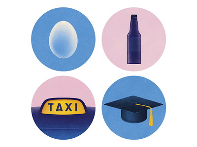 Smith Journal #1 alcohol texture spots beer taxi bottle egg symbol icons art drawing illustration
