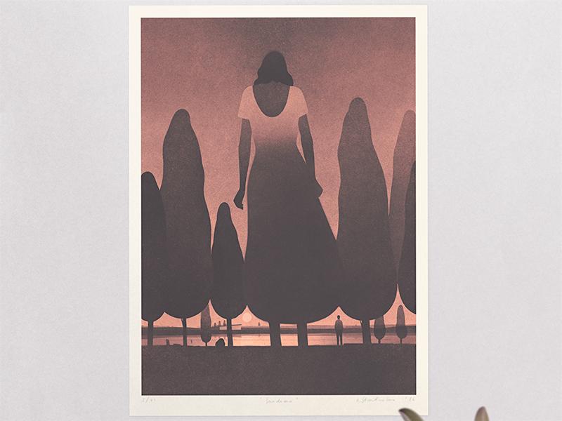"""Sundown"" print. edition limited print poster art illustration"