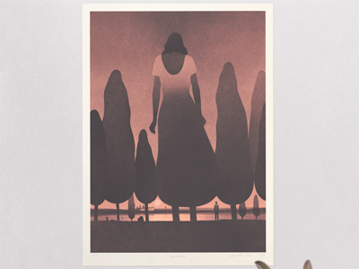 """Sundown"" print. edition limited print poster art illustration"