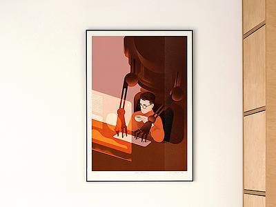 Coffee Break freelance screen robot ai coffee illustration print